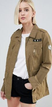 army badge trucker jacket
