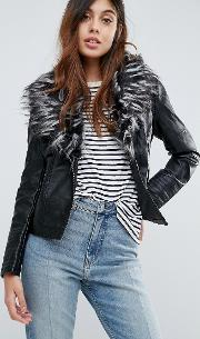 betina leather look jacket with deep faux fur collar