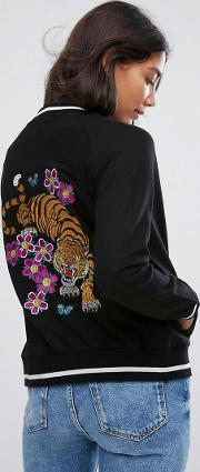 bomber jacket with tiger back