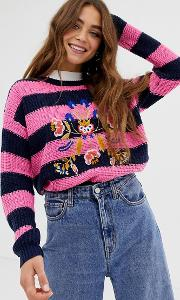 Bouquet Stripe Jumper With Embroidery