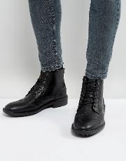 Brogue Boots In Black