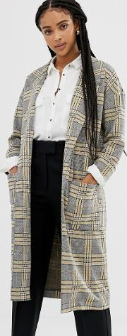 Checked Long Line Coat With Patched Pockets