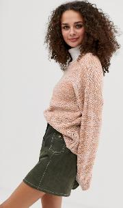 Chunky Knit Jumper With Balloon Sleeve