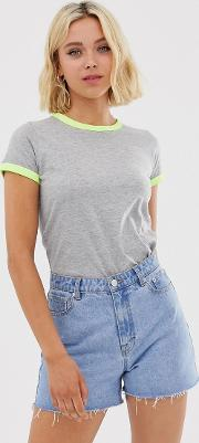 Claudia T Shirt With Contrast Neon Trim