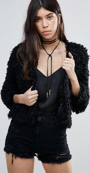 curly faux fur crop jacket