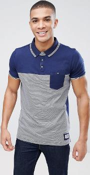 Fine Stripe Knitted Collar Polo