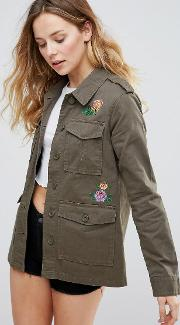 floral embroidered trucker festival jacket