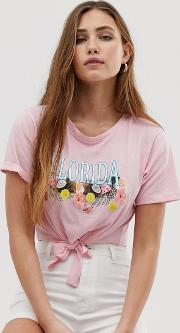 Florida T Shirt With Tie Front