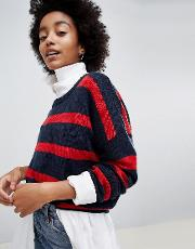 grunge round neck jumper in stripe