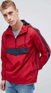 half zip nylon windbreaker jacket