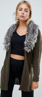 hawk cardigan with detachable faux fur collar