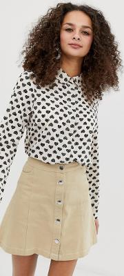 Heart Print Long Sleeved Shirt