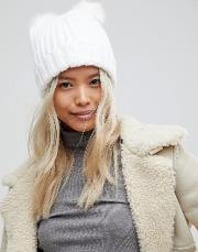 hlaf cardigan knit hat with 2 faux fur poms in white