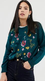 Jumper With Allover Floral Embroidery