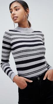 Knitted Jumper With Funnel Collar