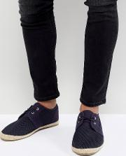 lace up espadrilles in navy mesh