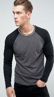 long sleeve raglan baseball crew neck