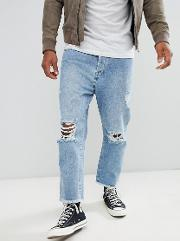 Loose Fit Cropped Ripped Jeans