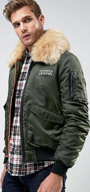 Ma2 Bomber With Faux Fur Collar And Rip Off Badge