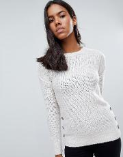 Medlock Mohair Jumper With Side Button Plackets