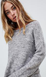 jumper with pearl embellishment