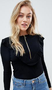 roxbury zip up jumper with circle ring pull