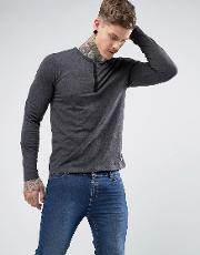 plain grandad long sleeve top with contrast collar