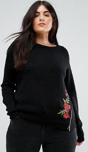 posy embroidered jumper with zip detail