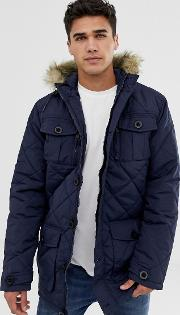 Quilted Parka Jacket With Faux Fur Trim Hood