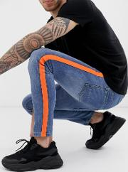 Skinny Jean With Neon Orange Taping