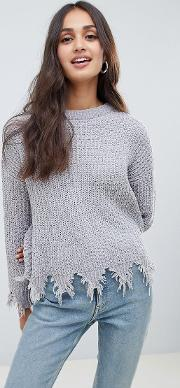 Stabilo Chenille Jumper With Distressed Hem