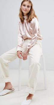 tulip high neck blouse in crushed satin