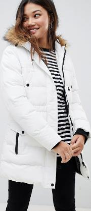 Whitehorse Padded Parka With Faux Fur Trim