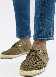 wide fit lace up espadrilles in khaki