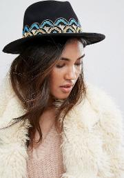 Fedora Hat With Embroidered Band