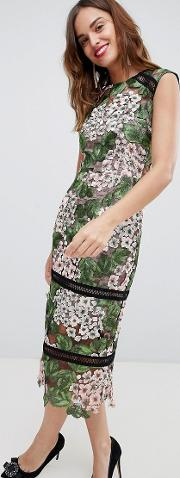 bronx & banco floral lace midi dress