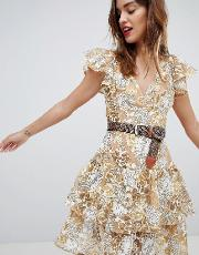 bronx & banco gold floral lace mini dress