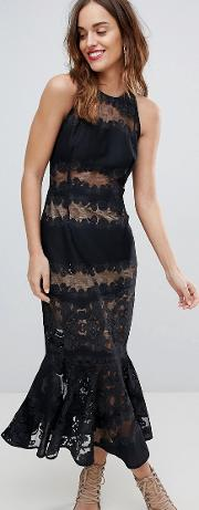 bronx & banco lace and mesh panel dress