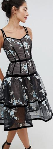 caged midi dress with floral embroidery