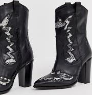 Leather Heeled Western Boots