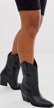 Leather Python Embossed Mid Calf Western Boots