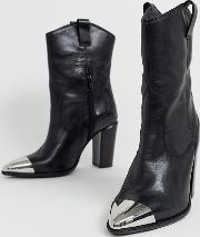 Leather Western Boots With Metal Toe Cap