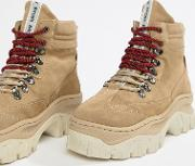 Taupe Suede Chunky Hiker Boots