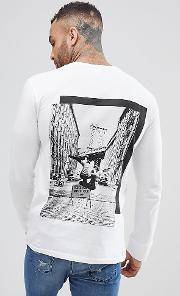 brooklyn supply co skater long sleeve  shirt with back print