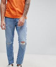 brooklyn supply co slim jeans with knee rip and repair