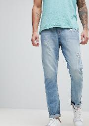 brooklyn supply co tapered jeans with abrasions