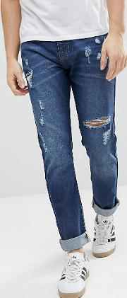 Brooklyn Supply Co Tapered Jeans With Thigh Rip