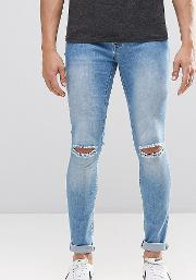 Light Washed Denim Dyker Jeans With Knee Slit In Super Skinny Fit