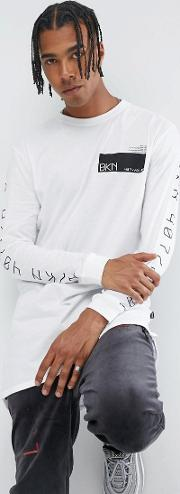 long sleeve t shirt in white with  print