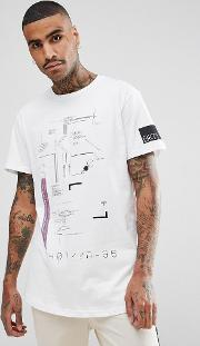 t shirt in white with space print